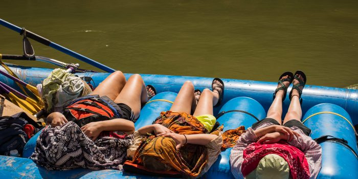 Grand Canyon Youth Laying on boat