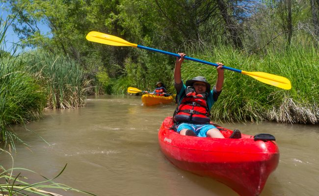 Grand Canyon Youth participant on a kayak