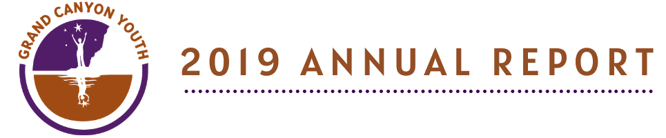 Grand Canyon Youth 2019 Annual Report Header with Logo