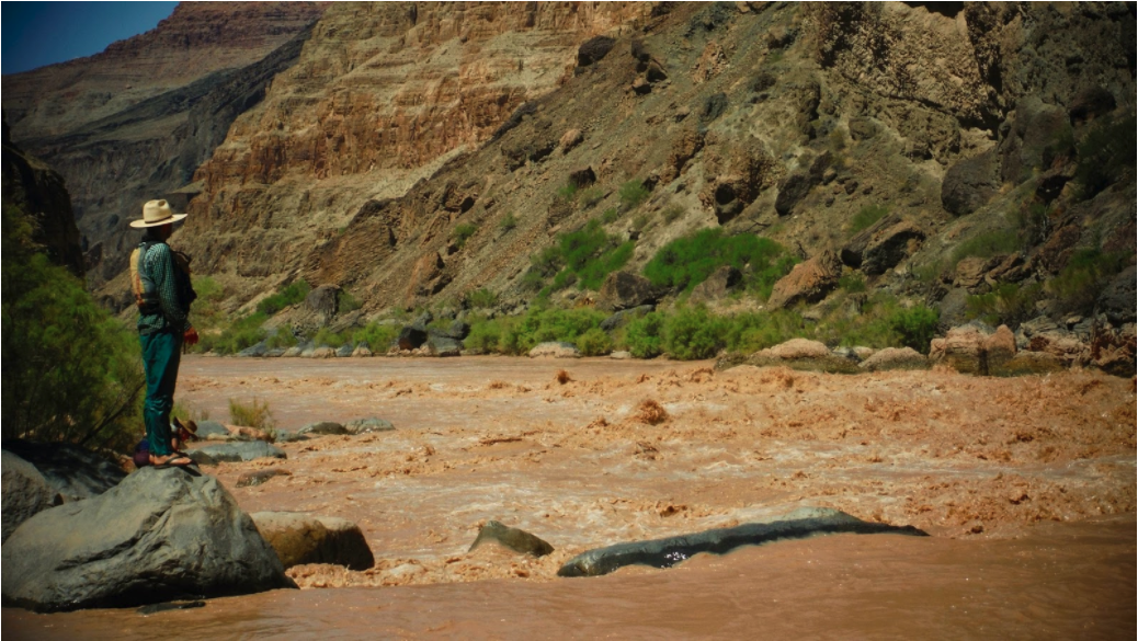 Grand Canyon Youth River Guide standing and scouting river rapid on the Colorado River