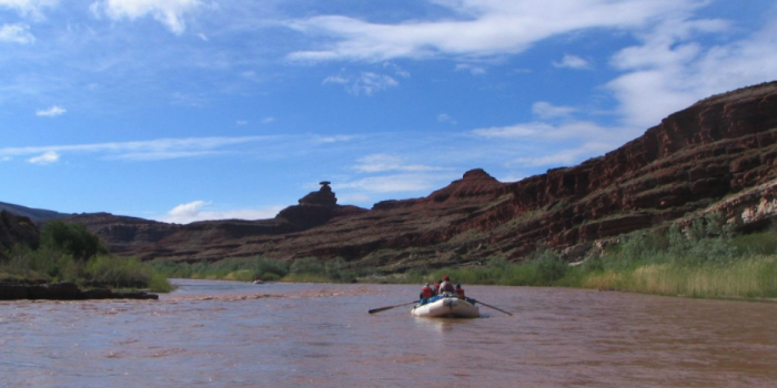 a white boat floats on the san juan river by mexican hat