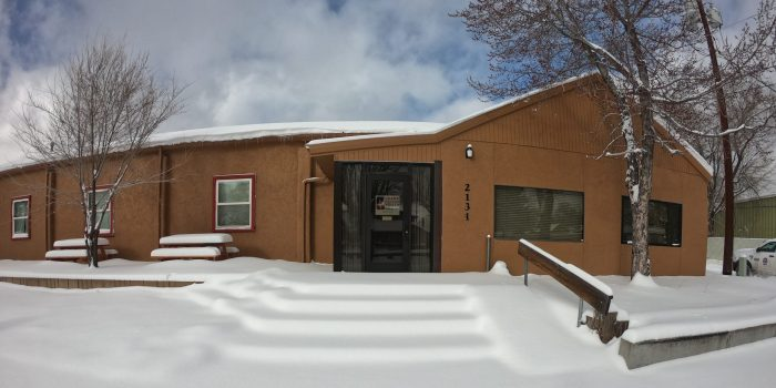 Grand Canyon Youth Building covered in snow